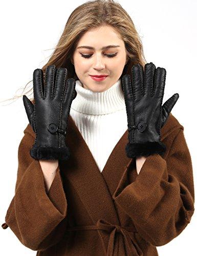 YISEVEN Damen Shearling Winterhandschuhe mit Warm Gefüttert Winter Lammfell Leder Autofahrer Handschuhe, Helles Schwarz M