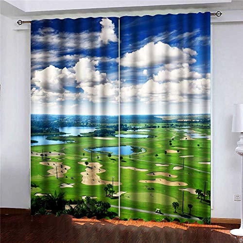 KIOAO Black Out Window Curtain Decorative Curtain Golf Course Resort in The United States America Pattern Printing Curtains 52 X 63 Inches Long(2 Panels).