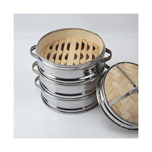 Edelstahl Struktur gedämpft Bambus Korb Steamer Chinesische Dessert Herd Set gedämpft Klöße Multisize 1/3, Bambus, 30cm 3pc