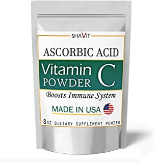 Vitamin C Powder Pure Ascorbic Acid - Made in USA - Boosts Immune System 8 Ounce Powder
