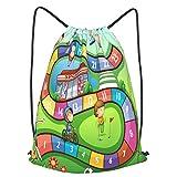 Olverz Mochila con cordón para niños, juego de mesa, impermeable, bolsa de gimnasio, mochila de cadena grande, plegable, bolsa de cincha para senderismo al aire libre, camping, playa M