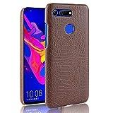 Aralinda Funda protectora de piel de cocodrilo clásica de lujo [ultra delgada] de piel sintética antiarañazos PC para Huawei Honor View 20. (Color: Marrón)
