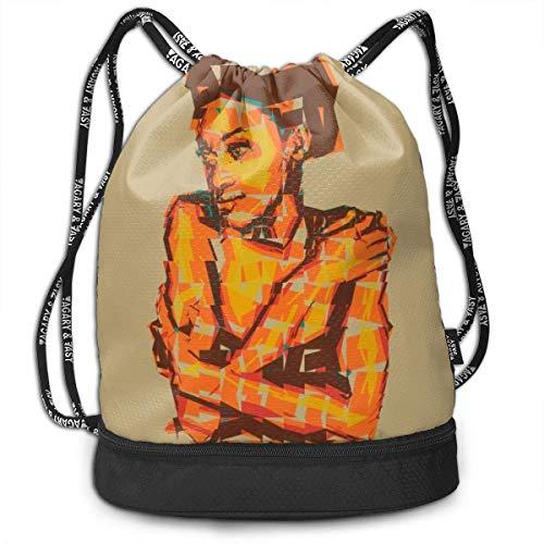 OKIJH Mochila Mochila de Ocio Mochila con cordón Mochila Multifuncional Bolsa de Gimnasio Gymsack Drawstring Bag Sackpack Women Art Sport Cinch Pack Simple Bundle Pocke Backpack For Men Women