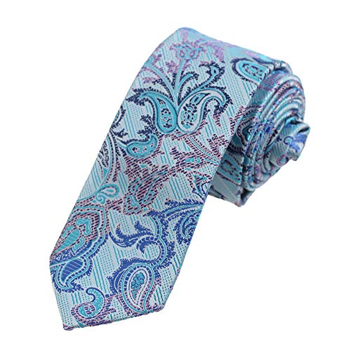 Dan Smith Fashion Slim Corbata de microfibra con estampado de corbata con caja, Turquesa, Rosa-dae7b17b, Talla única