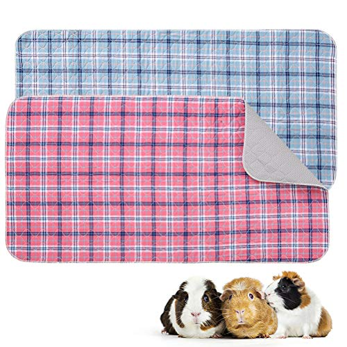 SCENEREAL Plaid Fleece Liner for Guinea Pig Cage 2 Pack, Washable Pee Pads Waterproof & Non-Slip, Reusable Strong Water Absorption Guinea Pig Bedding for Small Animals Puppies Rabbits Cats