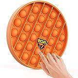 Push Pop Bubble Sensory Fidget Toy Autism Special Needs Stress Reliever Anxiety Relief Toys Extrusion Bubble Fidget Sensory Toy Round Circle Orange