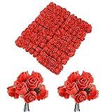 BUONDAC 144pcs Mini Rosas Flores Ramos de Rosas Artificiales en Espuma para Manualidades Decoración de Boda Fiesta Navidad Hogar Rojo