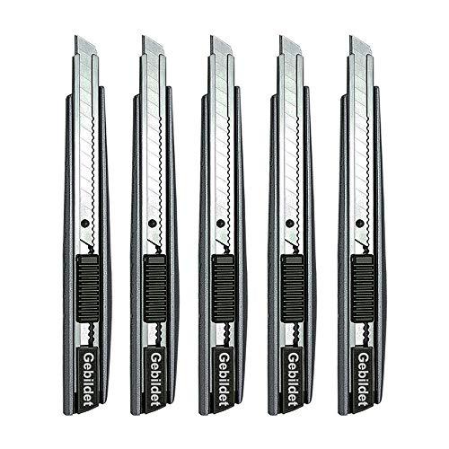 Gebildet 5pcs Profi Cuttermesser/ 9mm Abbrechklingen / 60 Grad Folienmesser/Teppichmesser/Grafikmesser/optimal für Folien,Tapete, Bastelarbeiten, Kartons