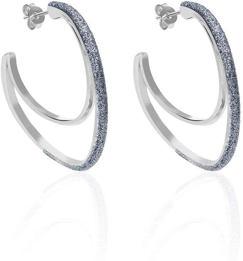 Stroili orecchini  per donna a cerchio in ottone chiaro e glitter. 1664598