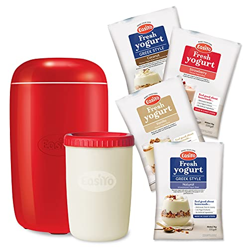 Red EasiYo Yoghurt Maker (1kg) Starter Pack | Includes 4 Sachets of Yogurt...