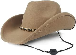 2019 Womens Hats Caps Womens Wool Western Cowboy Hat for Women Pop Fedora Hat Wide Brim Hat Sombrero Hat Size 56-58CM Cowgirl Hatzzz Jazz Sun Cap Ladies Fashion (Color : Khaki, Size : 56-58)