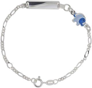 Aka Gioielli® - Bracciale Targhetta Identificativa Bambini Argento 925 con Elefante Azzurro Smaltato, Idea Regalo