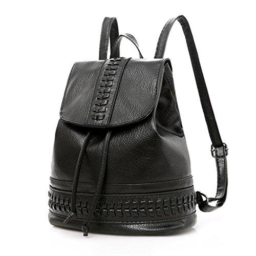 Kleiner Rucksack Frauen Umhängetasche Schultertasche Tasche LMMVP (Black)