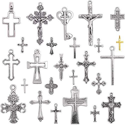 25pcs Colgantes de Cruz Mezclados Encantos de Cruz Dijes Vintage Accesorios para Hacer Pulseras Collares Manualidades Bricolajes,Plata Antiguo