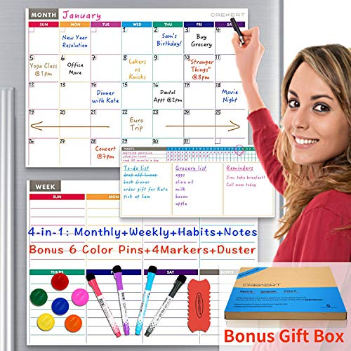 Dry Erase Calendar Magnetic Whiteboard for Refrigerator 4 in 1: Monthly Weekly Daily Planner Habit Tracker for Fridge and Wall Gift Box Included