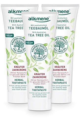 alkmene Herbs pasta de dientes con aceite de árbol de té - pasta de dientes para dientes sensibles - pasta de dientes vegana - pasta de dientes natural en un paquete de 3 (3x 100 ml)