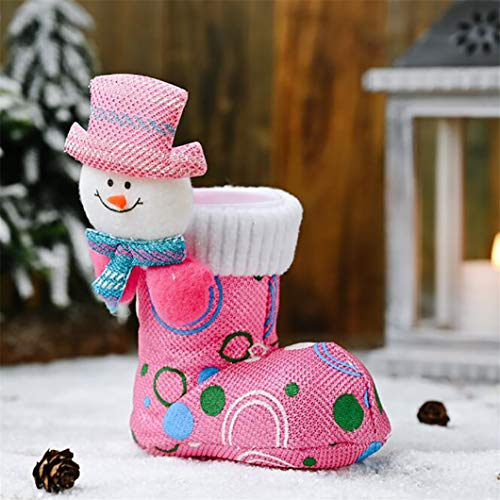 Caja de dulces de Navidad bolsa botas forma bolsa hogar Año Nuevo decoraciones accesorios regalos para niños, rosa