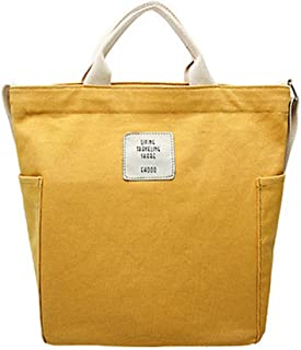 KIWITECH Umhängetaschen groß Tasche Canvas Damen Rosa Handtasche Damen Schultertasche Crossbody Bag Shopper für Schule Shopping Arbeit Einkauf Gelb