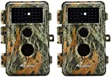 2pcs macchine fotografiche da caccia 24mp 1296p videocamere di animali selvatici no glow ir visione notturna 70 piedi, sensore pir motion activated, ip66 impermeabile, 2.4 lcd screen