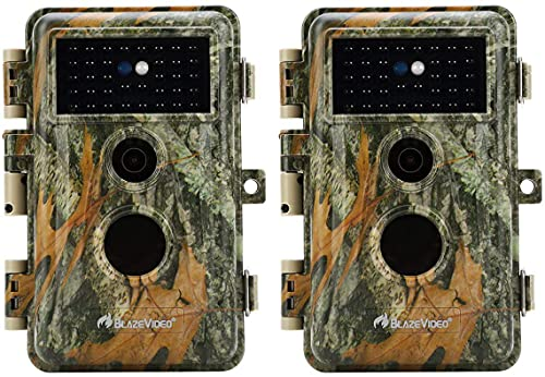 2-Pack Outdoor Camo No Glow Game & Deer Trail Cameras Night Vision 24MP 1296P MP4 Video for Hunting Wildlife & Home Surveillance Motion Activated...
