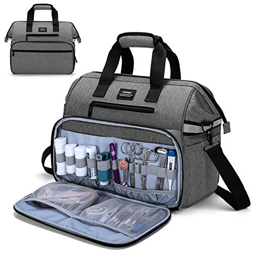 CURMIO Medical Bag, Nurse Supplies Bag with Padded Laptop Sleeve for Home Visits, Health Care, Hospice, Perfect Gift for Doctors, Nursing Students, Physical Therapists,Bag ONLY,Gray