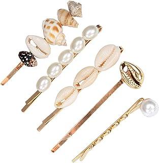 CAREOR - Mollette per capelli con conchiglia, con perle artificiali, confezione da 5 pezzi