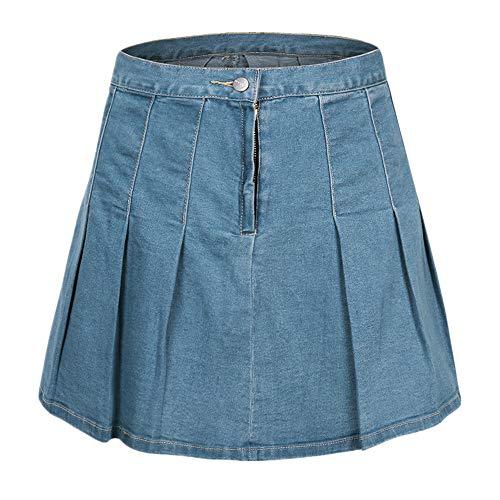 N\P Falda plisada azul versátil de cintura alta para mujer