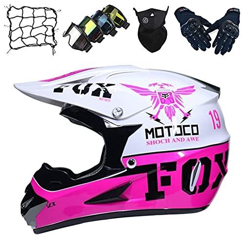 Casco Motocross Niños, Casco Moto para Niños & Niñas con Diseño Fox, Casco Integral para Motocicleta Todoterreno Dirt Quad Bike BMX ATV MX MTB DH Casco Protector - Blanco