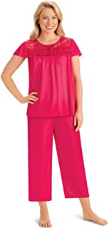 Silky Lace Trim Tricot Capri Pajama Set - Includes Short Sleeve Shirt with Scooped Neckline and Capris with Elastic Waistband