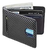 Casmonal Mens Leather Wallet Slim Front Pocket Wallet Billfold RFID Blocking (Weaved Black)