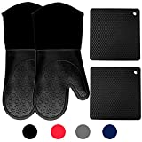 Homwe Silicone Oven Mitts and Potholders (4-Piece Sets), Kitchen Counter Safe Trivet Mats | Advanced Heat...