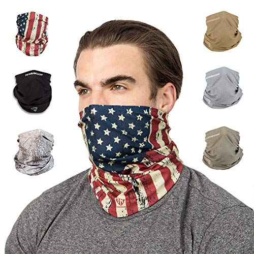 Terra Kuda Face Clothing Neck Gaiter Mask – Non Slip Light Breathable for Sun Wind Dust Bandana Balaclava (Old Glory Flag)