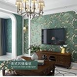 Papel pintado para pared, estilo rústico, retro, para salón, dormitorio y fondo de TV (verde oscuro)
