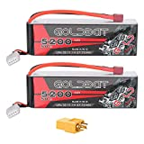 GOLDBAT 3S Lipo Battery 5200mah 11.1V 50C LiPo RC Battery Soft Case Pack with Deans Plug and XT60 Connector for RC Evader BX Car RC Truck Truggy RC Hobby - 2 Pack