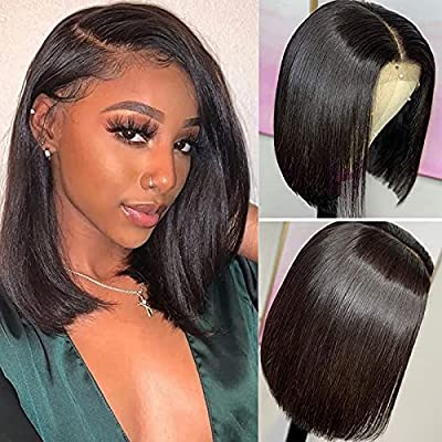 Amazon - 5% Off on 4×4 Straight Bob Lace Wig 14 inch Pre Plucked with Baby Hair for Women Glueless