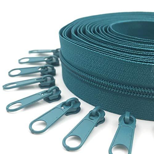 ABOO Cremalleras de nailon con cremallera de 10 metros para bolsos, bolsas y otros proyectos de costura.
