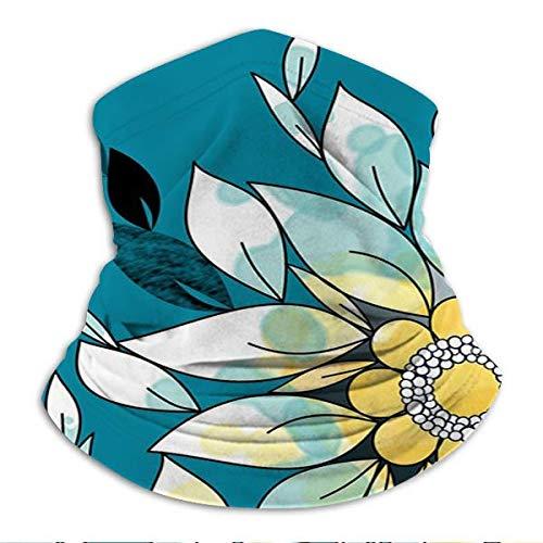 zhouyongz Frontera de la flor en azul y amarillo cuello/oído calentador esquí bufanda pasamontañas pulsera para todo el año