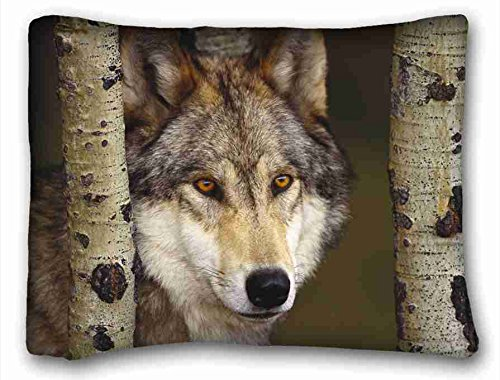 Custom ( Animal Wolf ) Pillow Cushion Case Cover One Sides Printed 20x26 Inches suitable for King-bed