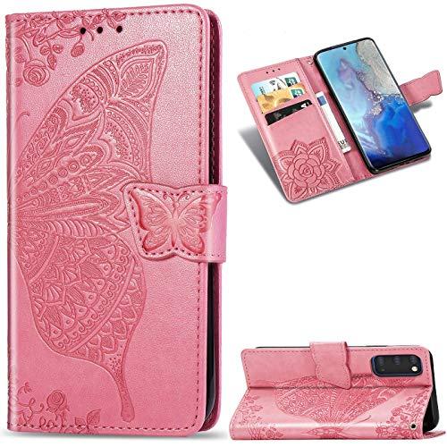 Dclbo Hülle für Samsung Galaxy S20, Handyhülle Tasche Hülle Case Leder Klapphülle Flip Cover Schutzhülle Ledertasche mit Magnet Muster Lederhülle Handytasche für Samsung Galaxy S20-Rosa