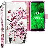 CLM-Tech kompatibel mit Motorola Moto G6 Plus Hülle, Tasche aus Kunstleder, Baum Katze Schmetterling rosa weiß, PU Leder-Tasche für Moto G6 Plus Lederhülle