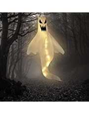 Tianbi Halloween Spookvorm Windzak Vlag Met Warm Witte Led-Verlichting Halloween Outdoor Opknoping Decor Voor Tuin Tuin Patio Gazon Pad Feestdecoratie