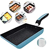 Tamagoyaki Japanese Omelette Pan/Egg Pan - Non-stick Coating - Rectangle Frying Pan Mini Frying Pan – Blue