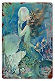 MIFSOIAVV Vendimia Cartel de Chapa metálica Nouveau Mermaid con Pearl Pin Up Sho Placa Póster,Decoraciones de de Pared de Hierro Retro para Café Bar Pub Casa 20x30cm