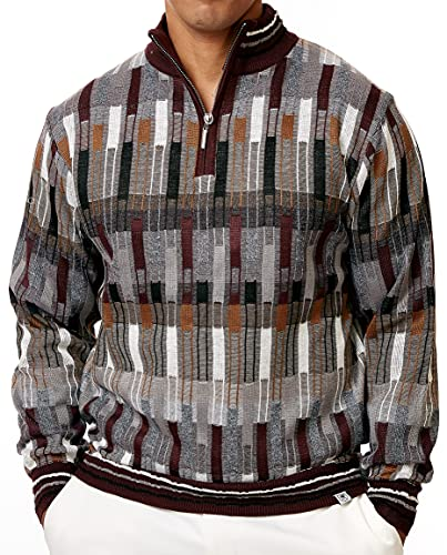 STACY ADAMS Men's Sweater Mélange Medley Full Patterned Design (Medium, Burgundy)