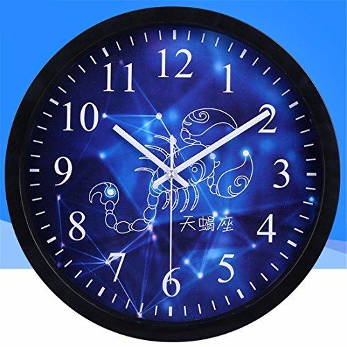 FortuneVin Stumm 12 Sternbilder Sterne. Quarz 10 im Skorpion (Schwarz) Stilvolle Wanduhr Home/Küche/Büro/Schule Uhren, leicht zu lesen Hängen Uhren