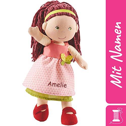 HABA Stoffpuppe Mona mit Namen Bestickt, weiche Erste Baby Puppe mit Kleidung und Haaren, 0-5 Jahre Kuschelpuppe Taufgeschenk, Anziehpuppe Kuschelpuppe 302841