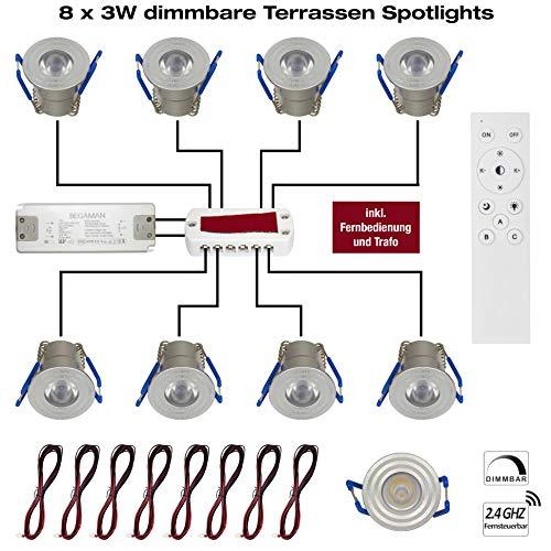 8 x 3W LED Mini Einbaustrahler, Aluminium 3000K Warmweiß, Dimmbar mit Funk, Fernbedienung, Trafo und Verteilerkasten Innen- und Außenbeleuchtung für Terrassenüberdachung