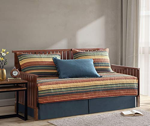 Chezmoi Collection Avery 5-Piece Multi-Color Striped 100% Washed Cotton Quilt Set, Daybed Size