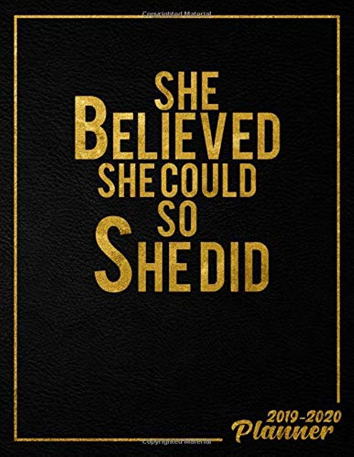 ジェムキャラクター火山学者She Believed She Could So She Did 2019-2020: Cute Black & Gold Daily, Weekly and Monthly 2019-2020 Planner. Pretty Two Year Organizer, Schedule and Agenda with Inspirational Quotes, Notes, To-Do's, Vision Boards, ... (Female Empowerment Gifts)