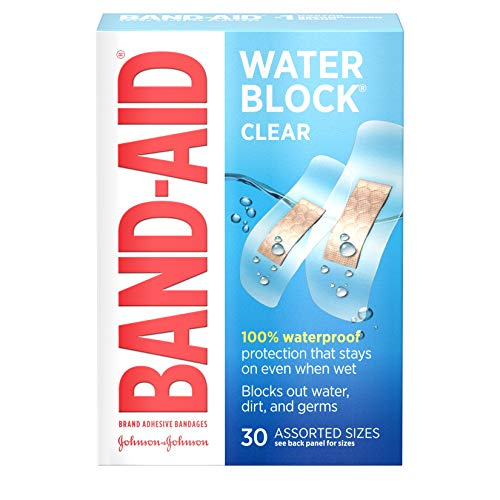 Band-Aid Brand Water Block Clear Waterproof Sterile Adhesive Bandages for First-Aid Wound Care of Minor Cuts and Scrapes, Assorted Sizes, 30 ct